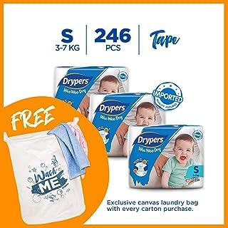 Drypers Wee Wee Dry S 82s x 3 packs (3-7kg) 246pcs/box Free Laundry Bag