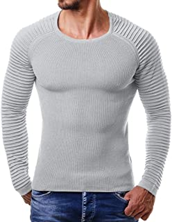 iOPQO Sweaters for Men, Autumn Winter Striped Drape Knit Long Sleeve T-Shirt