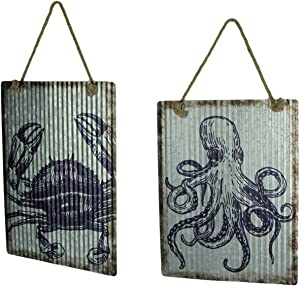 Chesapeake Bay Ribbed Texture Galvanized Metal Octopus and Crab Art Wall Hanging Set