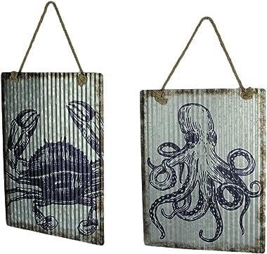 Chesapeake Bay Ribbed Texture Galvanized Metal Octopus and Crab Art Wall Hanging Set