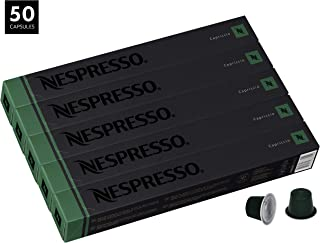 Nespresso Capriccio OriginalLine Capsules, 50 Count Espresso Pods, Light Roast Intensity 5 Blend, South American Arabica & Robusta Coffee Flavors