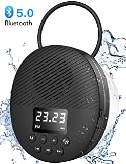 Waterproof Shower Speaker, AGPTEK Portable Bluetooth Speaker, Shower Radio with Bluetooth 5.0, LED Screen, Support TF Card, Built-in MIC for Bathroom, Shower, Beach, Outdoor, Indoor