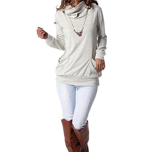 4e8e1bda43 levaca Womens Long Sleeve Button Cowl Neck Casual Slim Tunic Tops with  Pockets