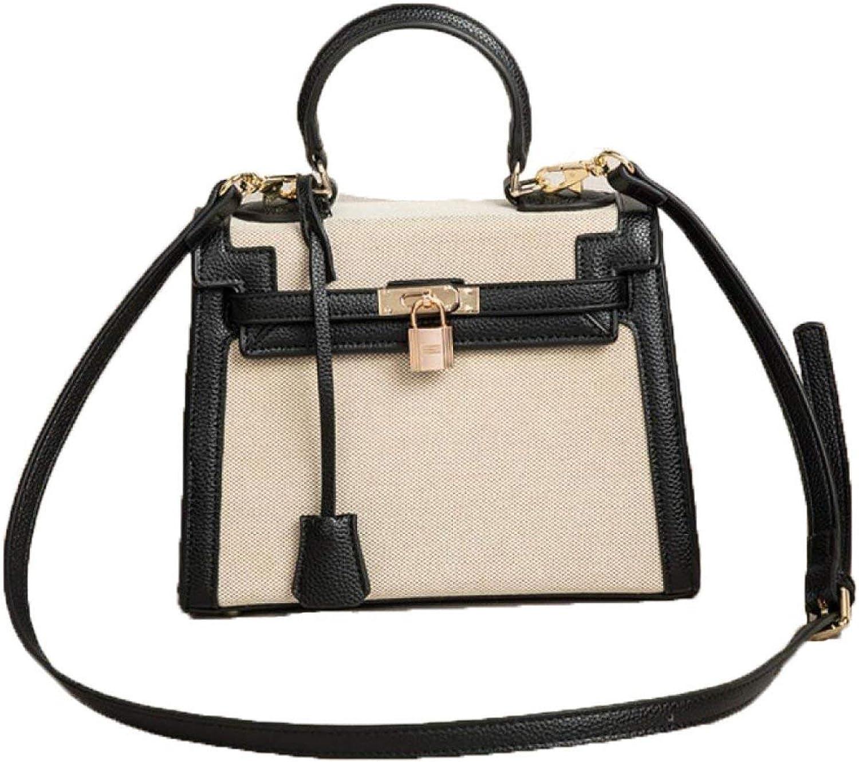 Hulday Handtasche Herbst Und Winter Korean Schultertasche Retro Handtasche Rucksack Taschen Einfacher Stil Damen Mnner Handgepaeck, (Farbe   schwarzapricot, Größe   One Größe)