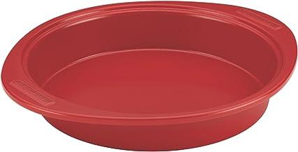 SilverStone Hybrid Ceramic Nonstick Bakeware Steel Cake Pan, 9-Inch Round, Chili Red