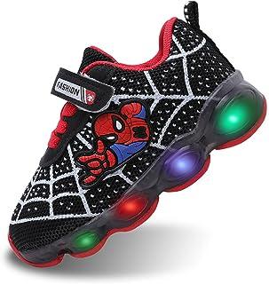 Szsppinnshp أطفال سبايدر مان الصمام أحذية مضيئة للأطفال الأولاد بنات تنفس الأزياء وامض أحذية رياضية الجري طفل المشي الأولى