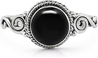 Round Black Onyx Spiral Side Ring- 925 Sterling Silver - Ethnic Boho Chic Hand Made Jewelry – US Size 6-10