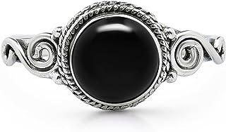 خاتم جانبي دائري من العقيق الأسود - 925 من الفضة الاسترليني - مجوهرات بوهو شيك المصنوعة يدويًا - مقاس الولايات المتحدة 6-10
