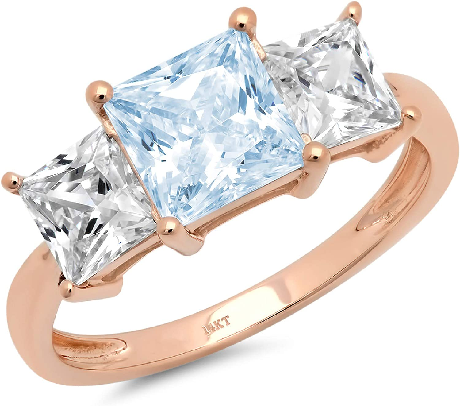 2.94ct Brilliant Princess Cut 3 Stone Solitaire with Accent Natural Sky Blue Topaz Gem Stone Ideal VVS1 Engagement Promise Statement Anniversary Bridal Wedding ring 14k Pink Rose Gold