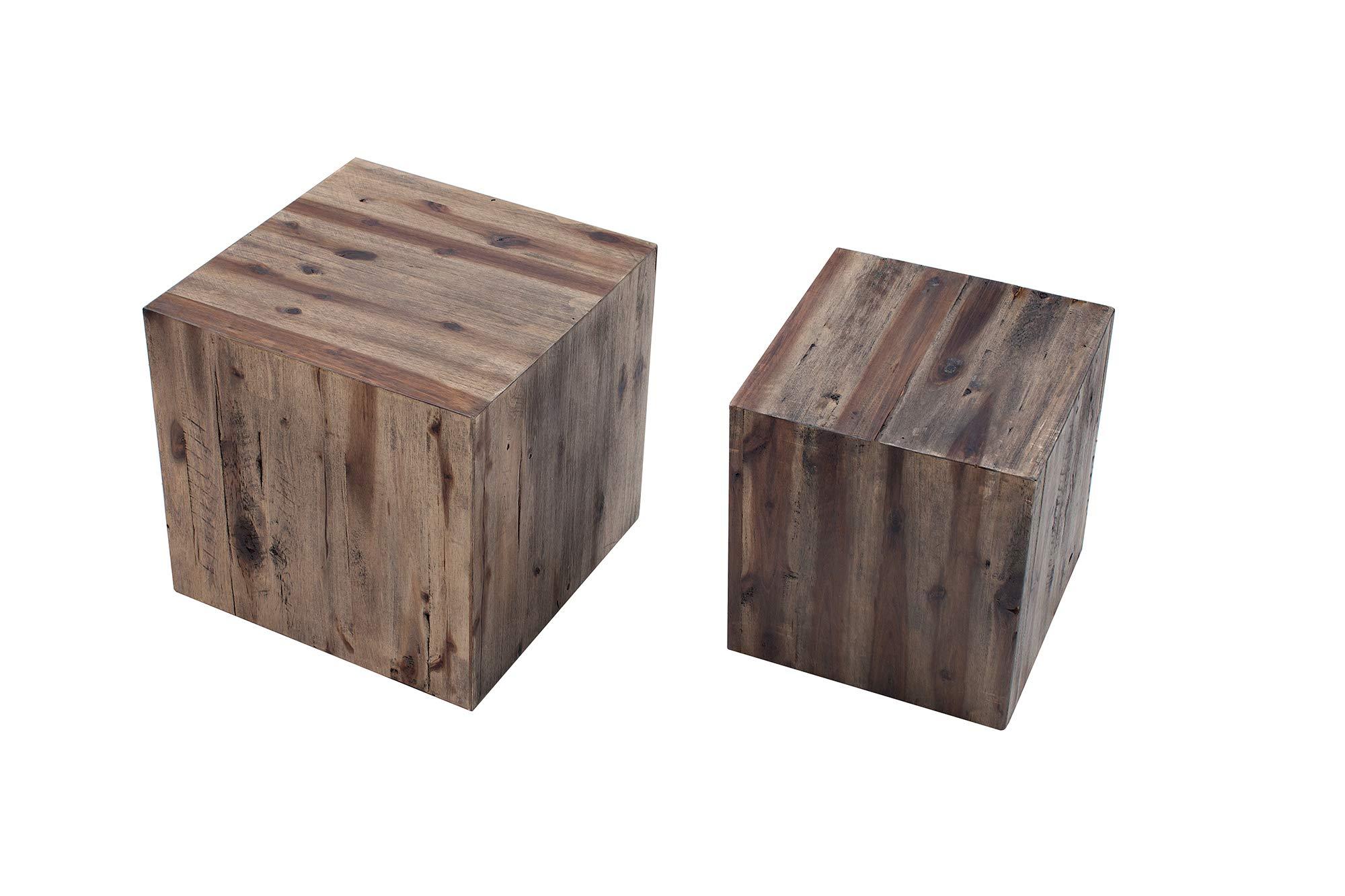 /Duo Meubletmoi Sgabello Rotondo in Legno di Teak Naturale e Bianco/ /Design Cosy Boemia Chalet Chic/