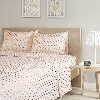 Intelligent Design Metallic Dot Printed Ultra Soft Hypoallergenic Microfiber Glam Chic Cute Sheet Set Bedding, Queen Size, Blush/Gold 4 Piece