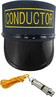 Deluxe Costume Set Train Conductor Hat and Whistle, Navy, One Size