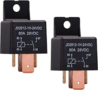 Ehdis [2 Pack 4-Pin JD2912-1H-24VDC 80A 28VDC On/Off Normally Open Car Truck Boat SPST Relays High Power