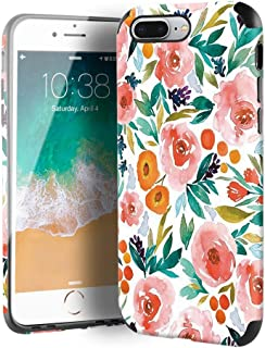 CUSTYPE iPhone 7 Plus Case, iPhone 8 Plus Case for Girls & Women, Floral Series Watercolor Camellia Flower Pattern Design Leather with TPU Bumper Slim Protective Cover for iPhone 8 Plus/ 7 Plus 5.5��