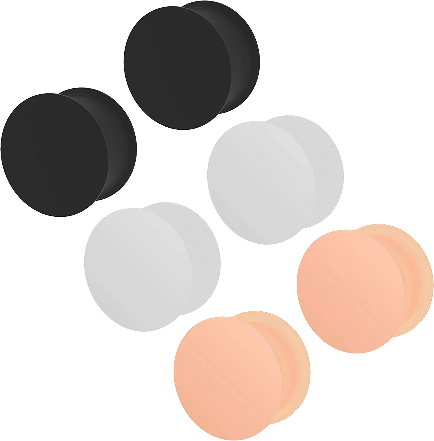 3 Pairs Ear Plug Skin White Black Silicone Double Flare Earrings Soft Solid Gauges Ears Tunnel Piercing Jewelry