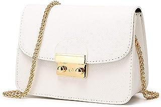 Bolso de Hombro pequeña de Mujer Bolso de Bandolera de Cuero PU Bolso de Mano Casual Moda Crossbody para niñas Señoras-Blanco