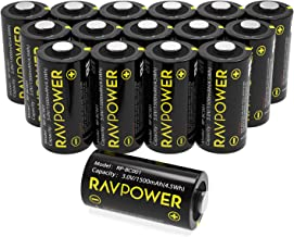$21 » CR123A 3V Lithium Battery RAVPower Non-Rechargeable Lithium Batteries, 16-Pack, 1500mAh Each, 10 Years of Shelf Life for Arlo Cameras, Polaroid, Flashlight, Microphones [CAN NOT BE RECHARGED]