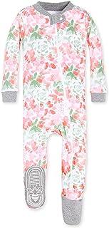 Burt's Bees Baby Girls Pajamas, Zip Front Non-Slip Footed Sleeper Pjs, 100% Organic Cotton