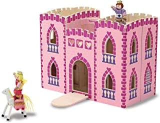 Melissa & Doug Fold & Go Wooden Princess Castle (Pretend Play Pink Dollhouse, 2 Royal Play Figures, 2 Horses, Furniture, Great Gift for Girls and Boys - Best for 3, 4, 5, 6, and 7 Year Olds)