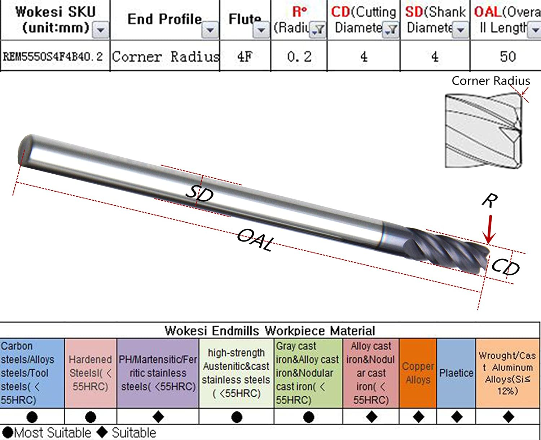 Wokesi 6mmCutting Dia,6mmShank,50mmOAL,1.0 CR,30/°Helix,HRC55,4Flutes,TiAlN Coated,Solid Carbide,Corner Radius End Mill Rounding Endmills CNC Router Bits Milling Tools R16mmDia6mmSHK50mmOAL