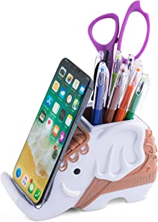 Pen Pencil Holder and Phone Stand Decorative Elephant Shaped Resin Container for Office Desk, Table Organizer, Home Decora...