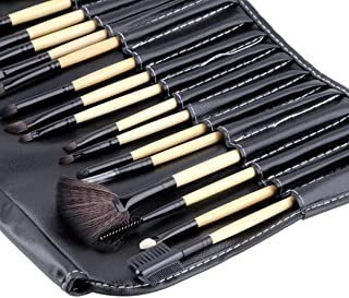 Makeup Brushes 24PCs Professional Foundation Concealer Blusher Eye Liner Shadow Face Powder Brush Set - T2O® Premium Quality Natural Hair Brush Blending Kit with LEATHER CASE