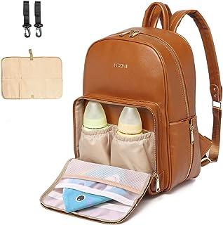 Skötväska i läderblöjväska, skötväska, skötväska, skötväska, blöjbyte babyväskor för mamma unisex mammablöjväska med barnv...
