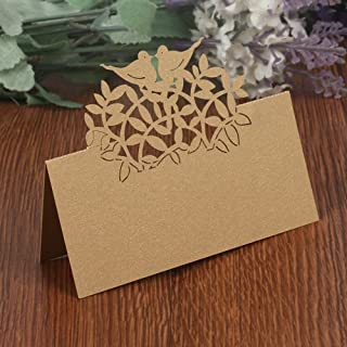 T-shin 50PCS Wedding Guest Name Place Cards Party Table Name Place Cards Paper Table Numbers Place Card Escort Name Card Laser Cut Design for Wedding Party Decoration Favor (Champagne-Birds)