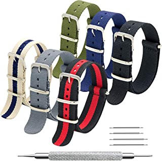 NATO Strap 6 Packs 16mm 18mm 20mm 22mm 24mm Nylon Watch Band Premium Ballistic Zulu Watch Straps for Men Women with Stainless Steel Buckle