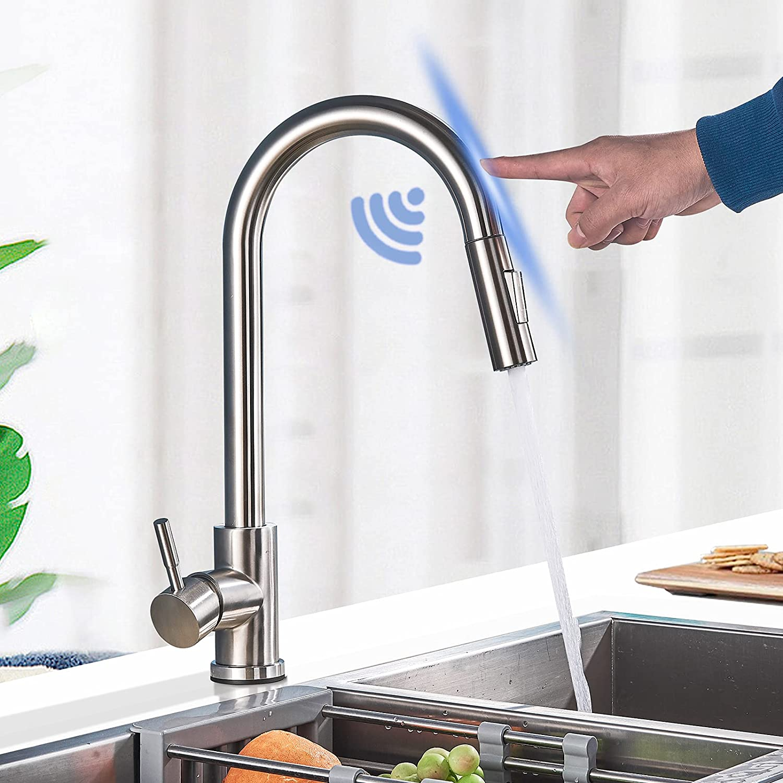 Grifo de cocina con sensor táctil, grifo de fregadero, ducha extraíble, 2 modos de pulverización con acero inoxidable, función giratoria de 360º, monomando y níquel cepillado