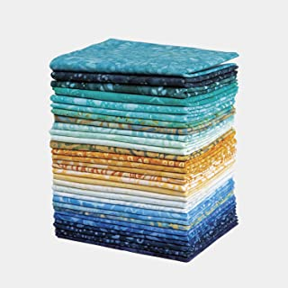 Connecting Threads Batik Collection Precut Quilting Fabric Bundle Fat Quarters (Sea from Space)