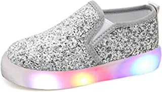 c8aecd1aa2a7 USANDY Girls  Light up Sequins Shoes Slip-on Flashing LED Casual Loafers  Flat Sneakers
