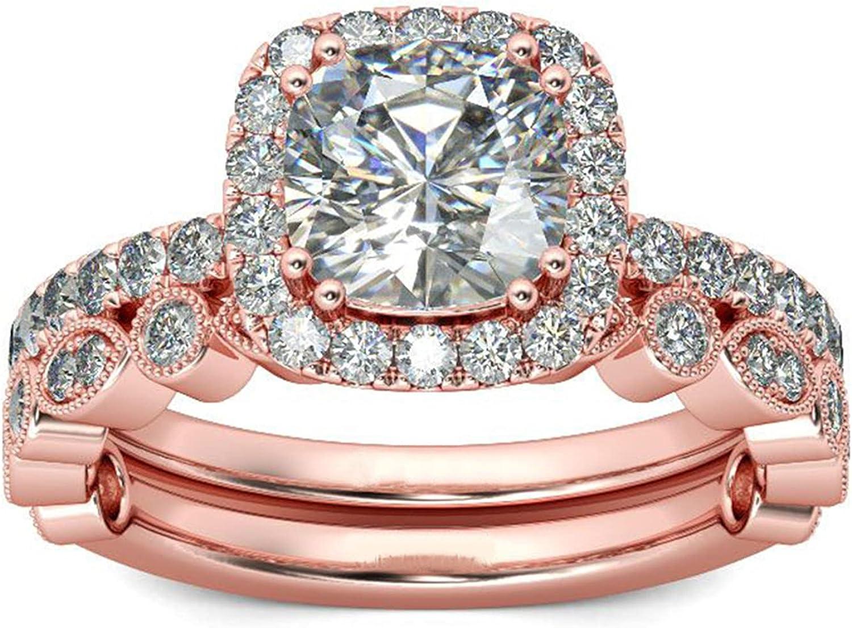 LIUCM Sparkling Women Gorgeous 18K Rose Gold Filled Morganite Ri