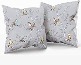 CaliTime Throw Pillow Cases Pack of 2 Cozy Fleece Lovely Birds Tree Branches Style Cushion Covers for Couch Bed Sofa Farmh...