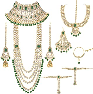 Peora Ethnic Indian Traditional Gold Plated Kundan Dulhan Bridal Jewellery Set with Choker Earrings Maang Tikka Hathphool ...