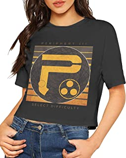 Sexy Exposed Navel Female Periphery III Select Difficulty T-Shirt Bare Midriff Crop Top T Shirt Black