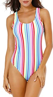 Funnygirl Women's Sexy Colorful Stripe One Piece Swimsuit High Cut Backless Beach Swimwear Bathing Suit