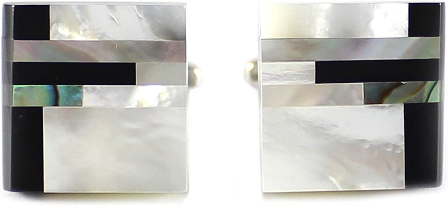 MENDEPOT Classic Genuine Onyx and Mother of Pearl Cufflinks Men Classic Cuff links With Box