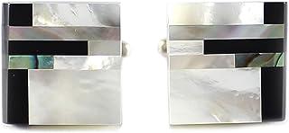 MENDEPOT کلاسیک اصلی اونیکس و مادر مروارید دکمه سر دست با جعبه