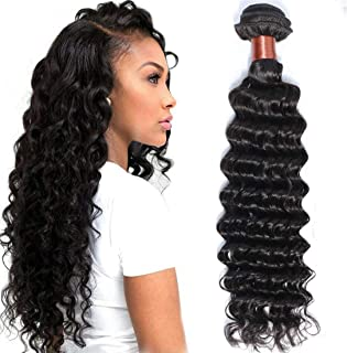 BLACKMOON HAIR Brazilian Virgin Hair Deep Wave Bundles One Bundle Unprocessed Virgin Remy Human Hair Extension Deep Curly Hair Weave Natural Color(22 Inch)