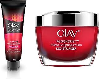 Olay Face Wash Regenerist Exfoliating Cleanser, 100g And Olay Day Cream Regenerist Microsculpting Moisturiser (NON SPF), 50g