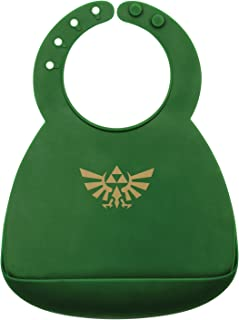 Bumkins Nintendo Zelda Silicone Bib, Baby Bib, Toddler Bib, Comfortable, Waterproof, Wipe Clean, Stain and Odor Resistant, 6-24 Months