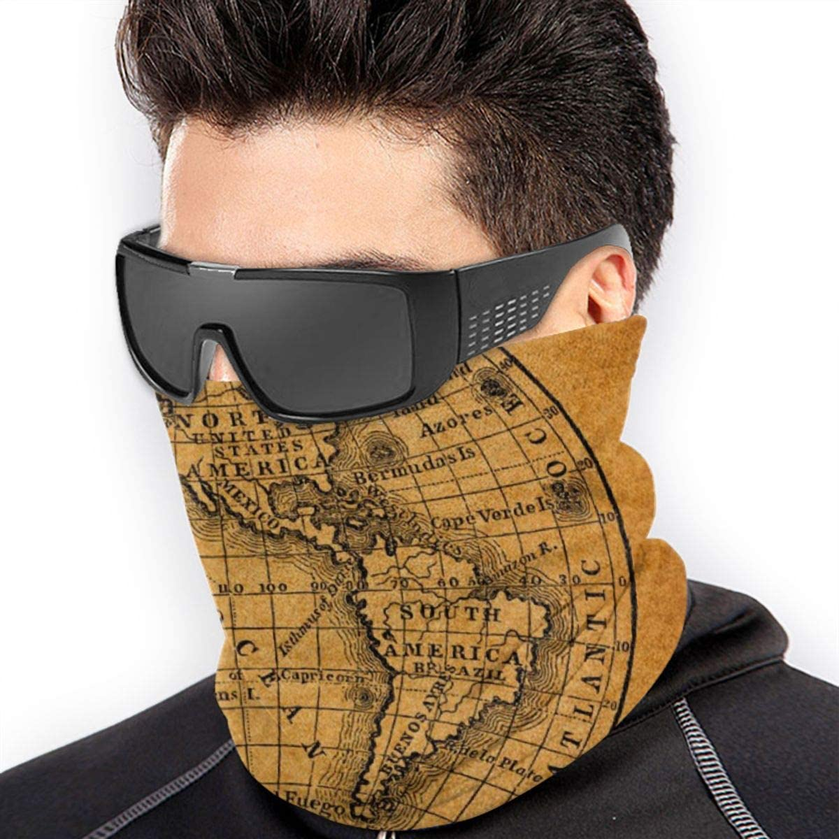 CLERO& Scarf Fleece Neck Warmer Vintage Earth World Map Antique Globe Windproof Winter Neck Gaiter Cold Weather Face Mask for Men Women