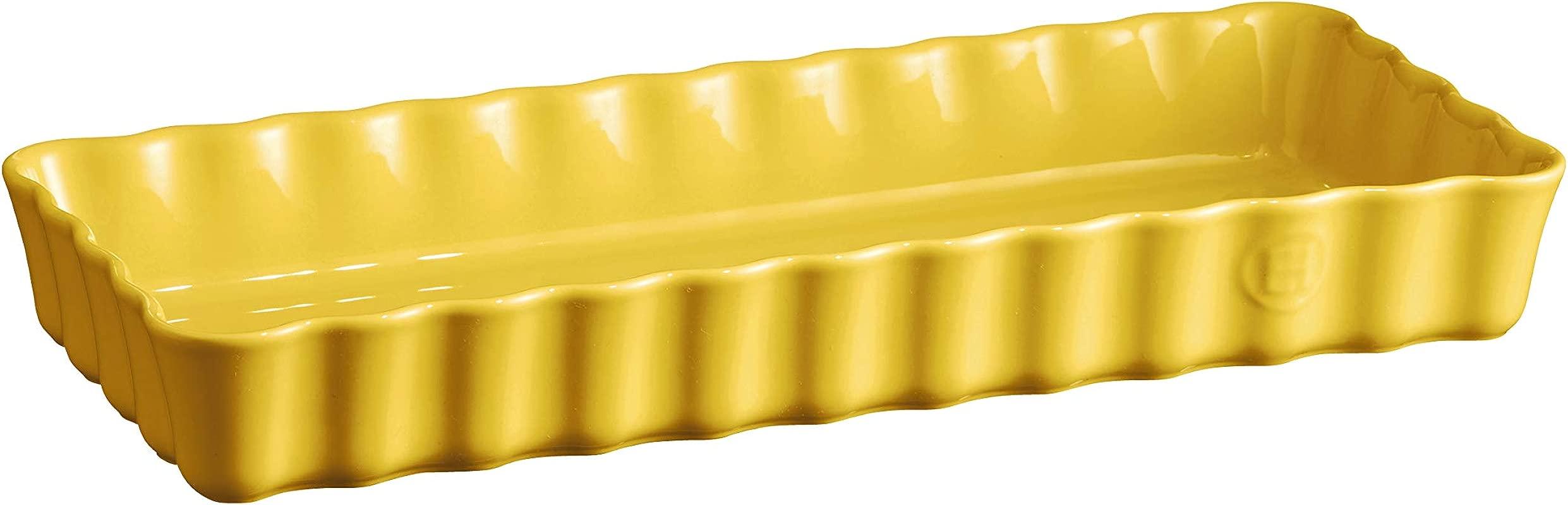 Emile Henry 906034 Small Provence Yellow Rectangular Tart Dish 1 7 Qt