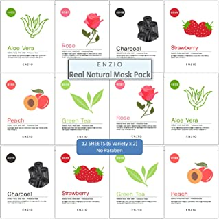Enzio Paraben Free Korean Collagen Essence Natural Face Facial Mask Sheet (6 Variety x 2 Each = 12 Sheets Total) (Free of Parabens, Benzophenone, Talc, and Color Additives)