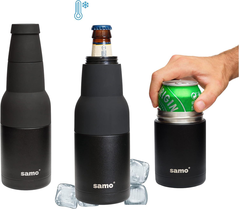 SAMO Bottle   Enfriador de latas y botellines de 330ml   Acero inoxidable   Perfecto para refrescos y cerveza