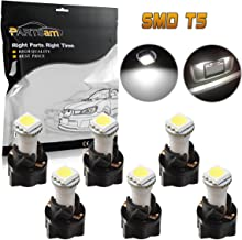 Partsam 6PCS T5 37 70 Instrument Panel LED Light Gauge Cluster Dashboard Indicator Lamp Bulb with Twist Sockets, White