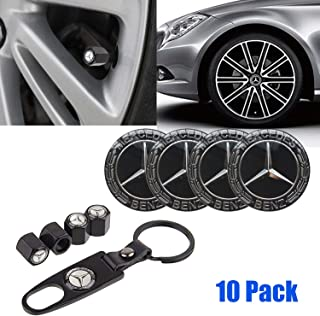 4PCS for Mercedes-Benz Logo Emblem Badge Wheel Centre Hub Caps Cover+1 Set Metal Car Wheel Tire Valve Stem Caps with Key Chain Combination Set,fit for Mercedes-Benz.(Black)
