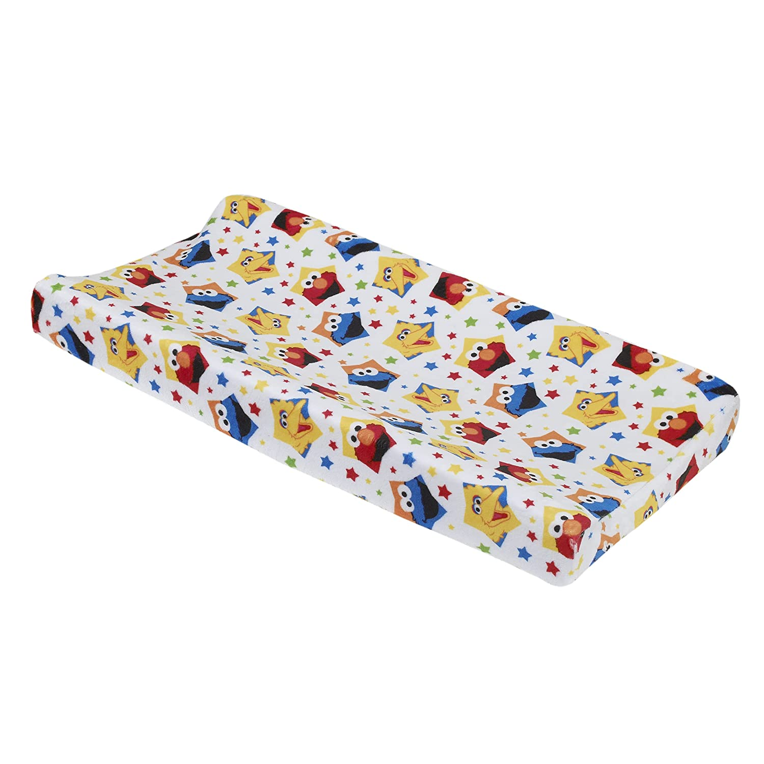 Sesame Street Elmo, Big Bird, & Cookie Monster Red, Yellow, Blue & White with Stars Super Soft Changing Pad Cover, Red, Blue, Yellow, Green