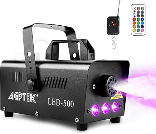 Smoke Machine, AGPTEK Fog Machine with 13 Colorful LED Lights Effect, 500W and 2000CFM Fog with 1 Wired Receiver and ...